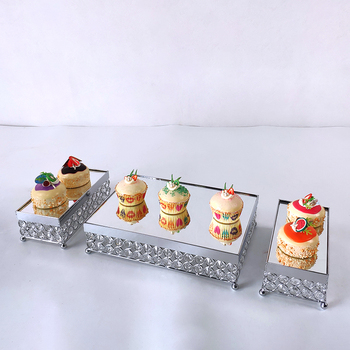 silver or gold mirror cupcake stand crystal metal cake tray cake stand High-grade electroplated mirror