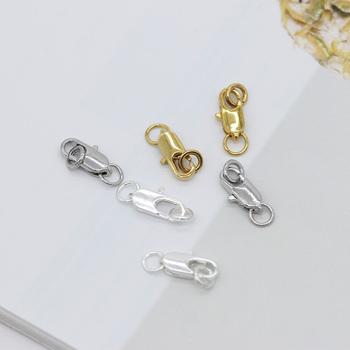 20p srebro pozłacane miedzi biżuteria złącza klamra Lobster klamrami z jump pierścień koraliki Crimp koniec naszyjnik Snap łańcuchy tanie i dobre opinie CN (pochodzenie) I haczyki klamry linki do biżuterii Other approx 5x12mm Copper gold silver nickel Jewelry Findings Lobster Clasps