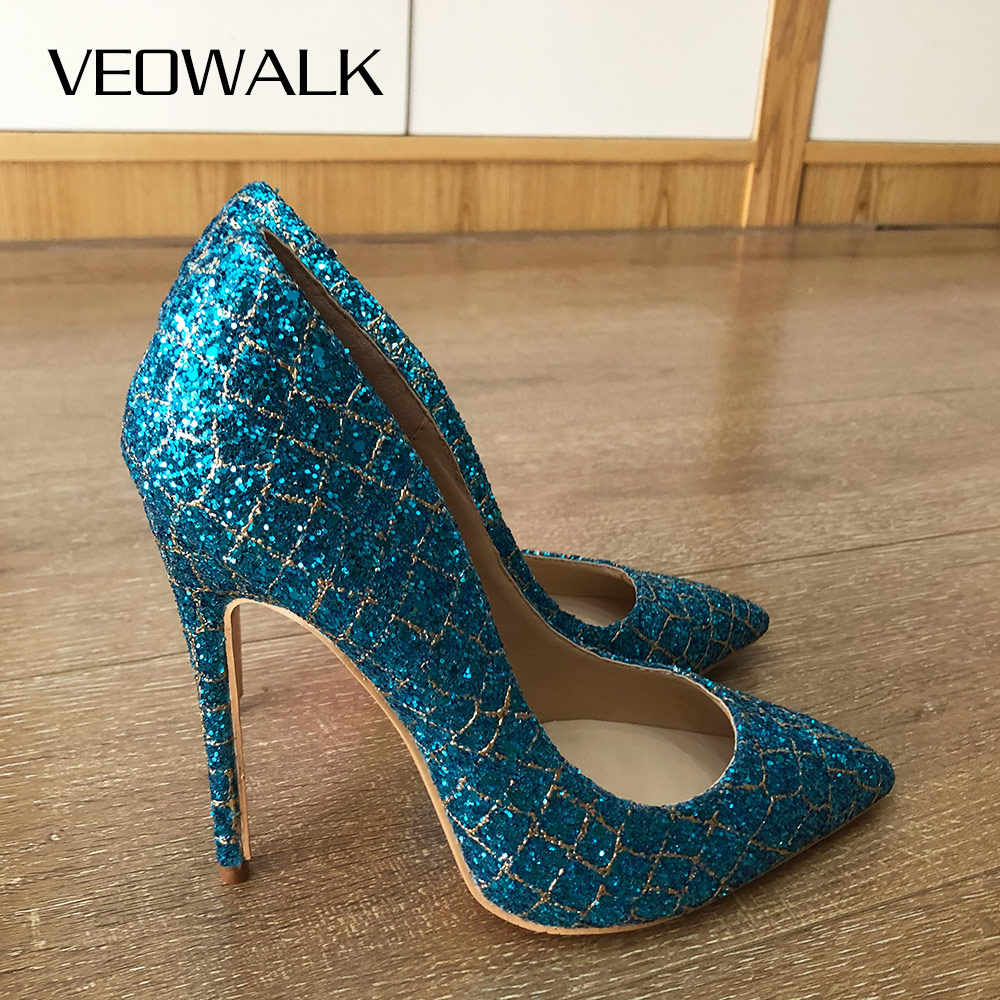 Women Ladies Sequins High Heels Pointed Toe Stilettos Wedding Party Pumps Shoes