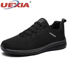 UEXIA gorąca sprzedaż letnie lekkie buty sportowe moda znani sznurowane styl mężczyźni buty wygodne Casual Style mężczyźni Sneakers obuwie tanie tanio Flyknit Przypadkowi buty Lato Stałe SC09910 Dla dorosłych Lace-up Podstawowe Oddychająca Wysokość zwiększenie Masaż