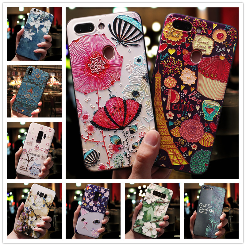 3D Relief Case For Oneplus 6T Case Flower Silicone Emboss Phone Cover For One plus 6T 7 7Pro 5 5t 6 cases oneplus7 oneplus5
