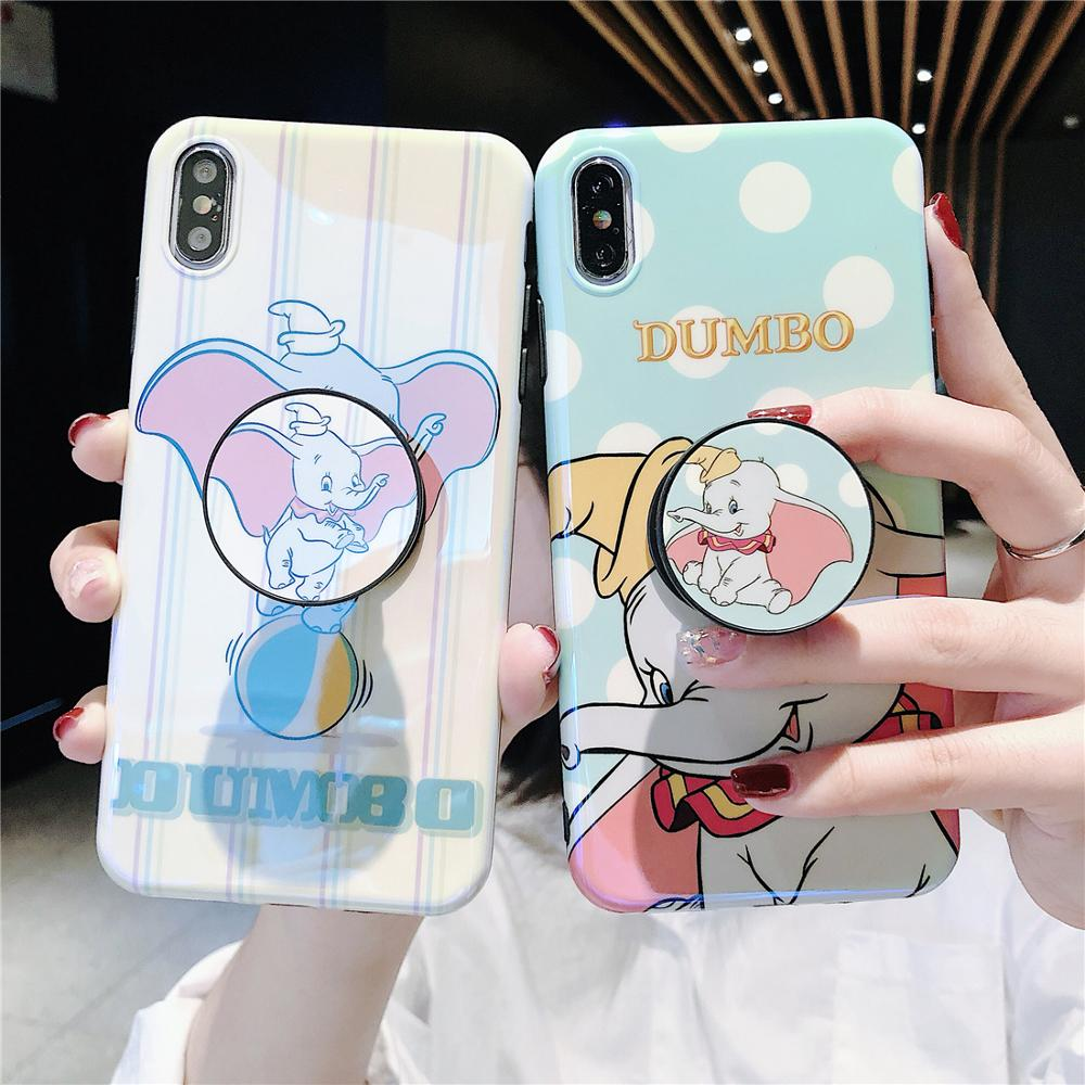 Flying Elephant Blue Light Cute Cartoon Dots Stand Holder Soft Phone Case For iPhone X Xr Xs 11 Pro Max 8 7 6 6s Plus Back Cover-in Fitted Cases from Cellphones & Telecommunications