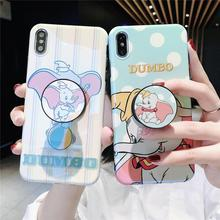 Flying Elephant Blue Light Cute Cartoon Dots Stand Holder Soft Phone Case For iPhone X Xr Xs 11 Pro Max 8 7 6 6s Plus Back Cover