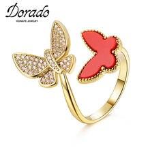 Dorado-Anillo de Metal con forma de mariposa para mujer, sortija ajustable, Circonia cúbica, zirconia, circonita, zirconita, circón, estilo elegante