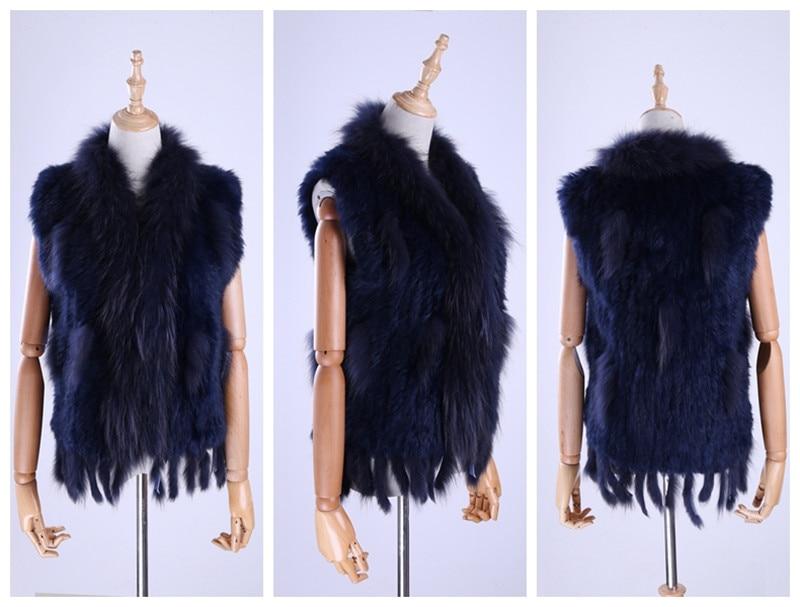 H86f3928612764ae09e76cf57cc57b8a9G Brand New Women's Lady Genuine Real Knitted Rabbit Fur Vests tassels Raccoon Fur Trimming Collar Waistcoat Fur Sleeveless Gilet