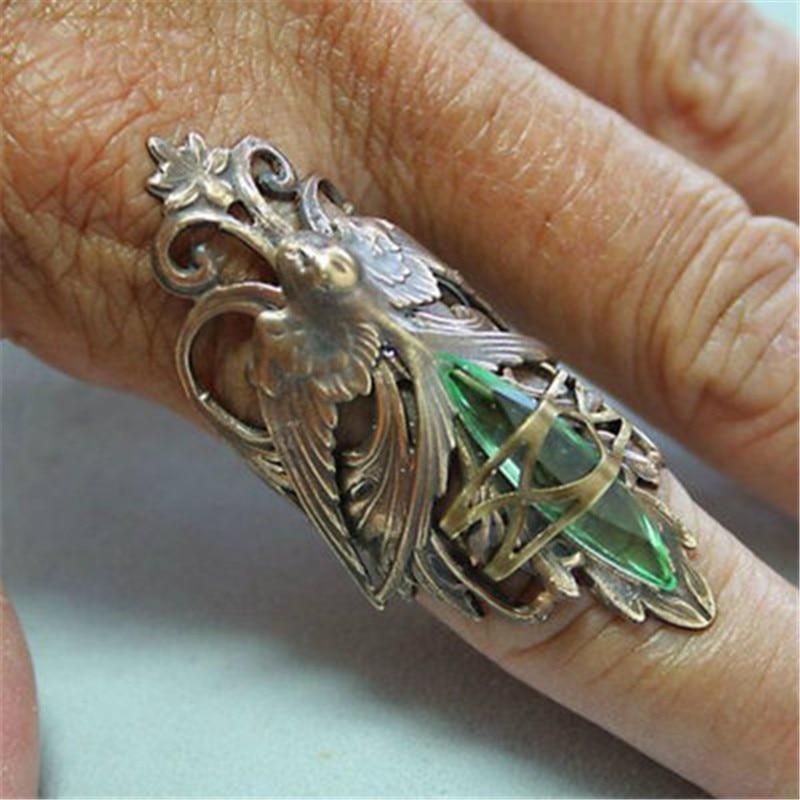 Женское кольцо с зеленым кристаллом, античное металлическое кольцо в стиле панк с кристаллами орла и совы, вечерние ювелирные изделия для Х...