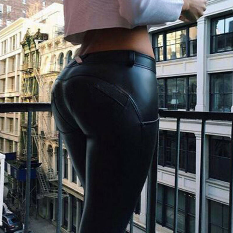 Meihuida High Waist PU Leather Leggings Women Stylish Trousers Wet Look Trousers Ladies Push Up Bust Pants Slim Capris