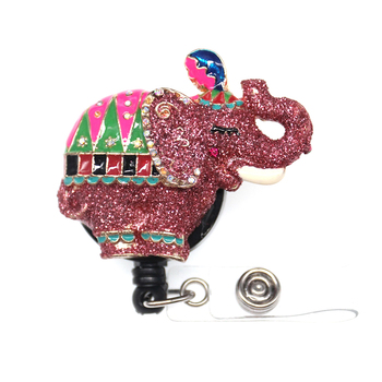 Free Shipping Pink Enamel Elephant Retractable ID Badge Holder Medical/School Styles Elephant Animal Badge Pull Reel