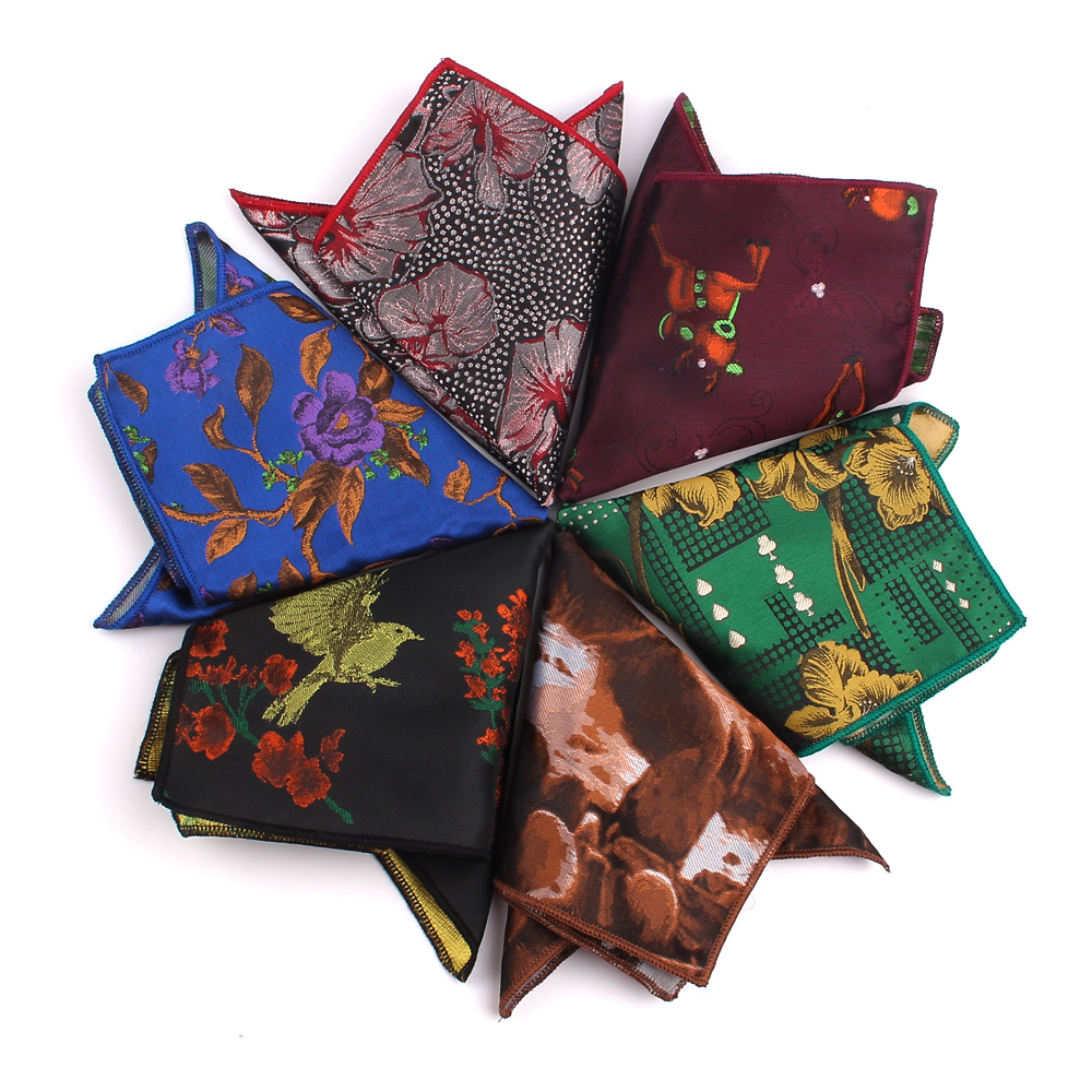 Fashion Floral Pocket Square For Men Women Cartoon Chest Towel Hanky Gentlemen Hankies Men's Handkerchief Jacquard Pocket Towel