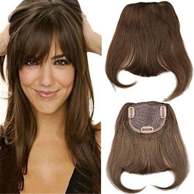 #4 Brazilian Human Hair Clip in Hair Bang Full Fringe Short Straight Hair Extension for women 6 8inch