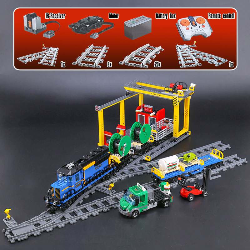 The 02008 RC City Series Cargo Train Compatible 60052 Building Blocks Bricks Educational Toys Christmas Gifts For Children