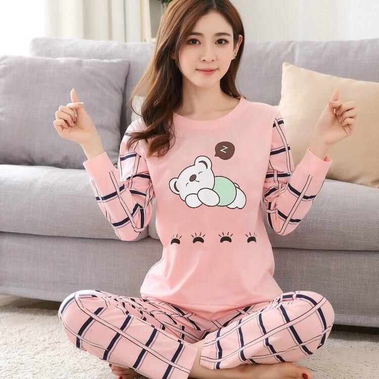 2020 New Women Pyjamas Cotton Clothing Long Tops Set Female Pajamas Sets Night Suit Mother Sleepwear Sets Women Home Wear