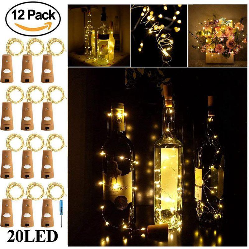 Cork Lights For Wine Bottle, Wine Bottle Lights 12 Pack 6.5ft 20 LED Wine Cork String Lights For Glass Mason Jar Fairy Lights Ba