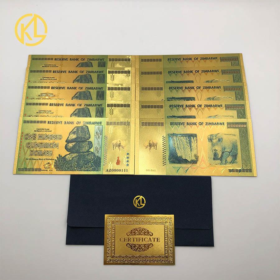 Az0000111 제한된 edtion rhinoceros 1 백 quintillion 짐바브웨 달러 24 k 골드 지폐 보안 워터 마크 라이트-에서금 지페부터 홈 & 가든 의  그룹 1