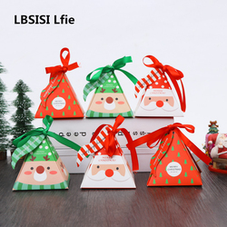 LBSISI Life 30pcs 8*8*9cm Merry Christmas Candy Baking Packaging Paper Box With Ribbon New Year Gift Decoration Baby Shower