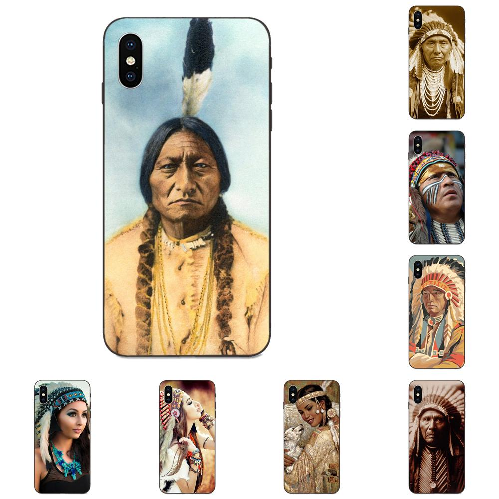 Native_american Für Apple iPhone X XS Max XR 4 4S <font><b>5</b></font> 5S SE 6 6S 7 8 plus <font><b>Smartphone</b></font> Handy Schwarz Fällen image