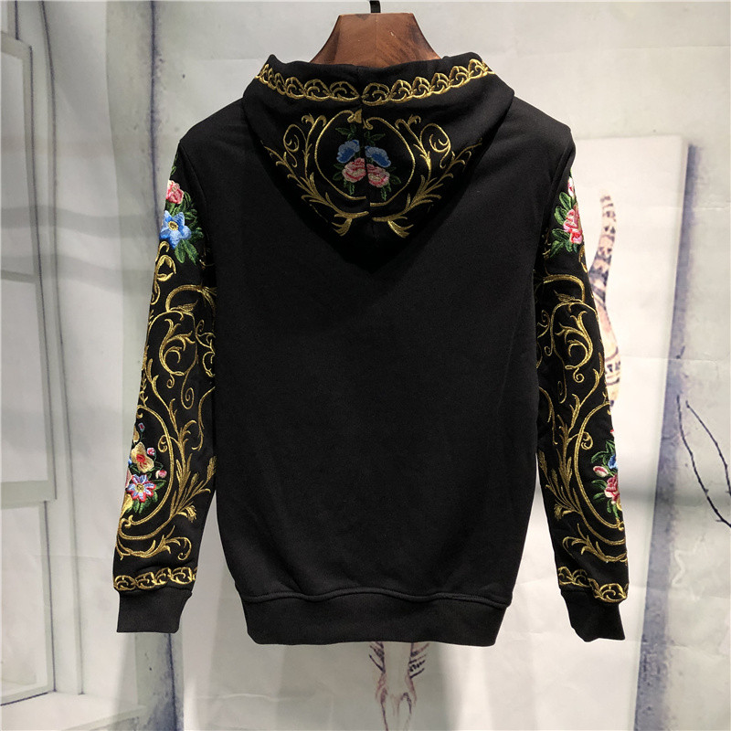 mens luxury golden embroidery flower hooded sweater/white/black hoodies/pullover 3