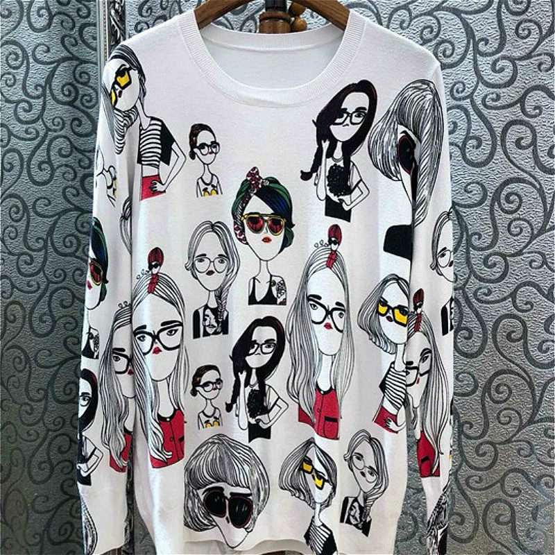 New Fashion Women Sweaters Full Sleeve O-Neck Printed Sweater Knitted Pullovers Computer Loose Tops Feminino Pageant