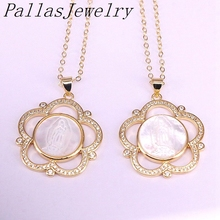 5Pcs 27MM CZ Micro Pave Flower Shape Shell Pendants Charm Necklaces Metal Electroplated Elegant Jesus /Mary Pattern Women