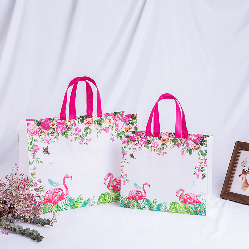 New Idyllic Flower Reusable Shopping Bag Foldable Eco Tote Bag Non-woven Canvas Shopper Bags Women Travel Grocery Shopping Bag