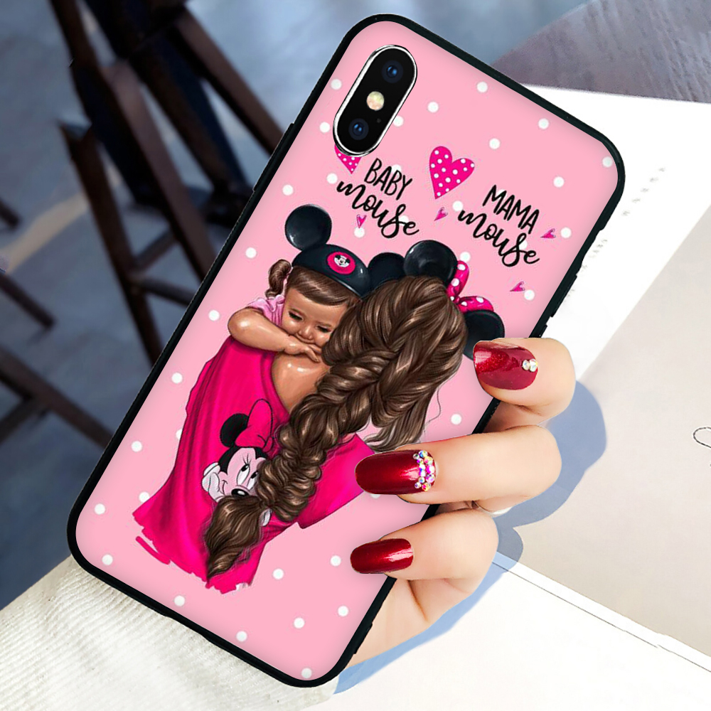 Super Mama Mouse Dad Girl Mom <font><b>Boy</b></font> Baby Soft Silicone phone cover <font><b>case</b></font> <font><b>for</b></font> <font><b>iphone</b></font> <font><b>5</b></font> 5S SE 2020 6 6S 7 8 plus X XR XS 11 Pro Max image