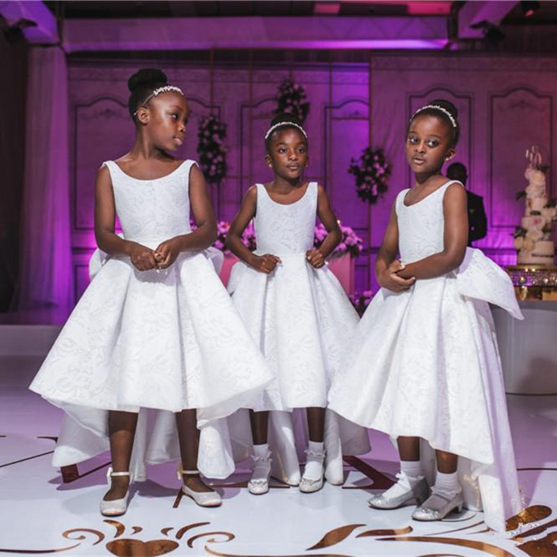 Dress Flower-Girl Princess African Cute Long White Lace Formal Newest Open-Back Hi-Lo
