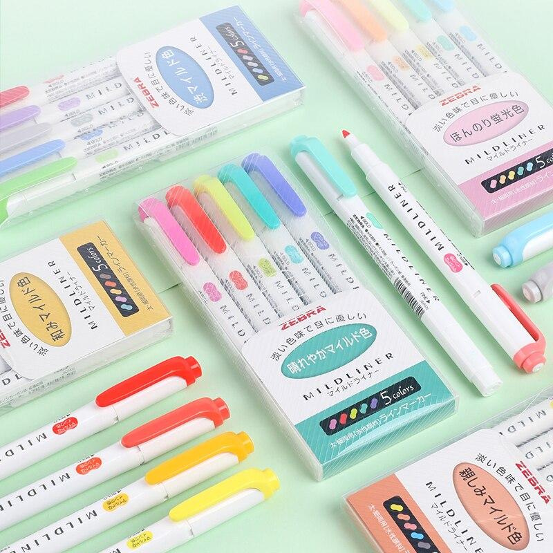 5Pcs/Set Japan Zebra Mild Liner Double Headed Highlighter Pen Fluorescent Pen Marker Pens Mildliner Office School Stationery