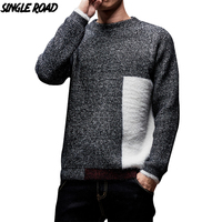 SingleRoad Thick Sweater Men 2019 Winter Wool Clothes Knitted Pullover Sweaters Male Loose Streetwear Fashion Warm Colorblock