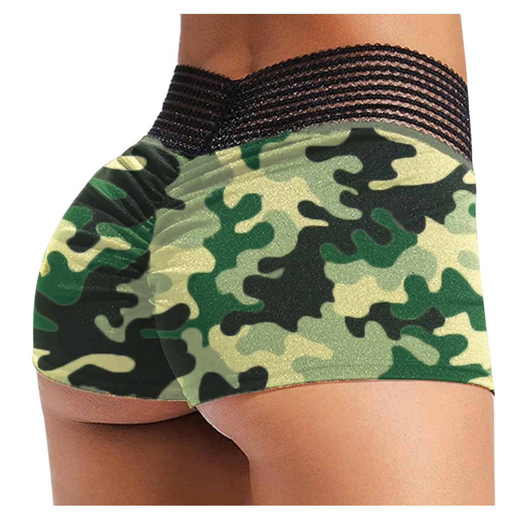 2020 Women Sexy Sports shorts gym Short Elastic Scrunch Camouflage Print yoga shorts Workout Yoga Shorts High waist Hips Short|Yoga Shorts|   - AliExpress