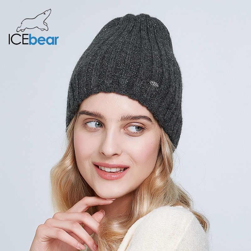 ICEbear سميكة الدافئة الشتاء القبعات للنساء لينة موهير محبوك قبعات الإناث مزدوجة بطانة beanies E-MX19103