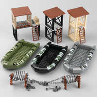 WW2 Military Soliders Weapons Building Blocks Boat Blocks City Tree Plant Part Army SWAT Police Obstacle Accessories Brick Toys