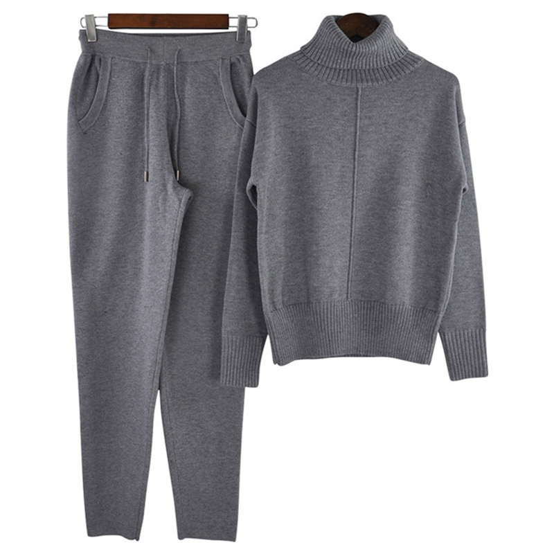 Rlyaeiz Woman Wool Knitted Suit Soft Warm Winter 2 Piece Set Women Female Knitting Pullover + Pants Sportswear Female Tracksuit