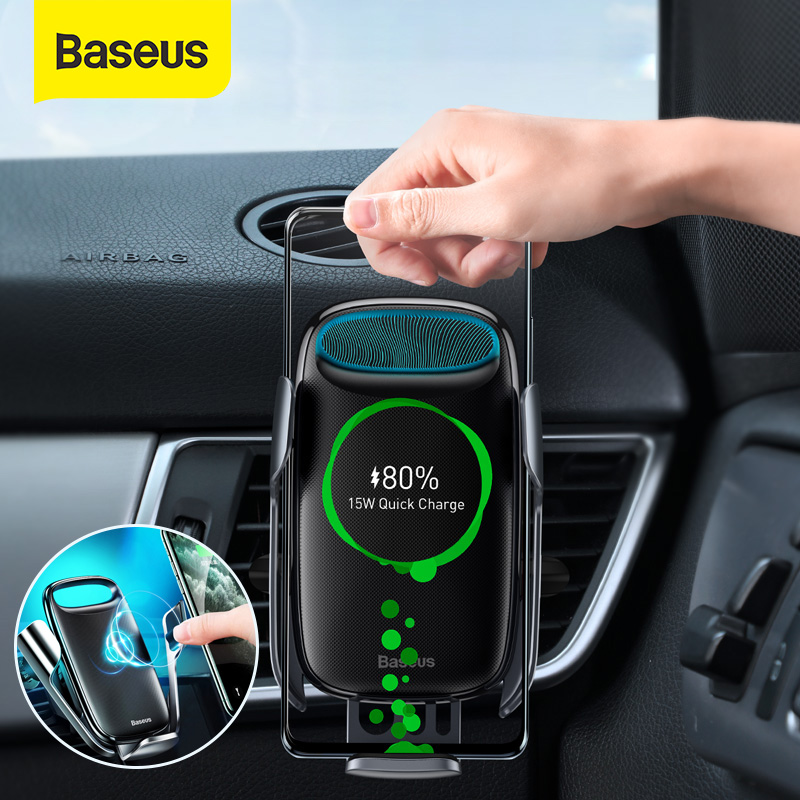 Baseus 15W Qi Wireless Car Charger For iPhone 11 XS Electric Induction Car Mount Fast Wireless Charg
