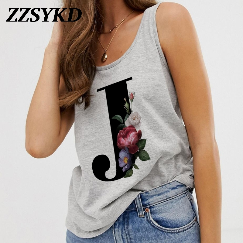Summer Alphabet Print Camisole Sexy Tank Tops Vest Women Tops Tee Shirt Sleeveless Gray Female Casual Harajuku Loose Plus Size|Tank Tops|   - AliExpress