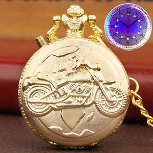 Luxury Gold Color Luminous LED Display Quartz Pocket Watch Chain Carved Motorcycle Motorbike MOTO FOB Light Watch Clock Gifts
