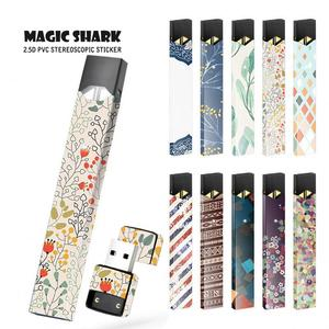 Magick Shark New China Tribal Leaf Film Stereo Sticker Skin Case Cover For Juul Electronic Cigarette Sticker(China)