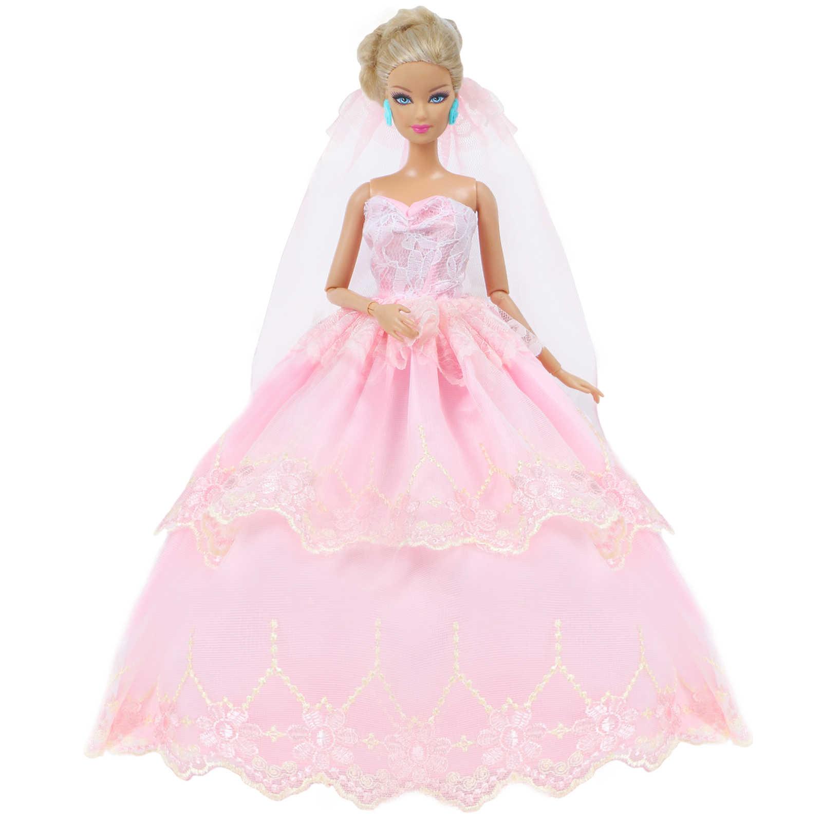 高品質人形刺繍ウェディングドレスブライダルウェアピンクのガウン + セクシーなレースのベールの服バービー人形 12 ''人形アクセサリー