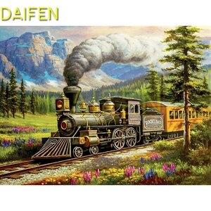 Полный Круглый Алмаз Мозаика поезд пейзаж полный квадратный алмаз картина с изображением поезда пейзаж 5D DIY Алмазная вышивка крестиком пое...