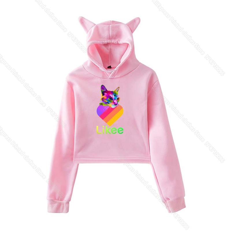 Girls Pink Cat Ear LIKEE Hoodies Cat Crop Top Likee App Hoodie Women Cartoon Unicorn Fox Sweatshirt Female Harajuku Streetwear 37
