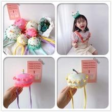 1pc Boutique Fashion Cute Birthday Cake Headbands Pom Pom Cu