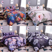 Homesky Plant Pattern Bedding Set Duvet Cover Floral Flower Printed Comforter Cover 2/3 pcs Set with Zipper Queen King Sizes