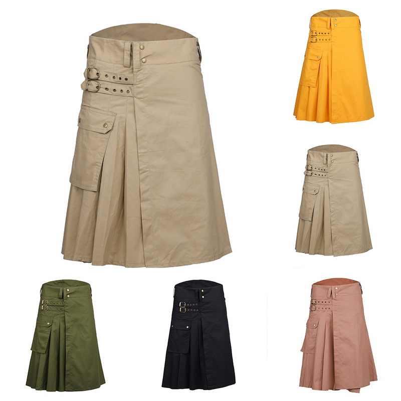 NIBESSER 2019 Регулируемая Талия мужская повседневная юбка брюки однотонный плед панк хип-хоп Авангард мужские модные брюки Шотландский Килт