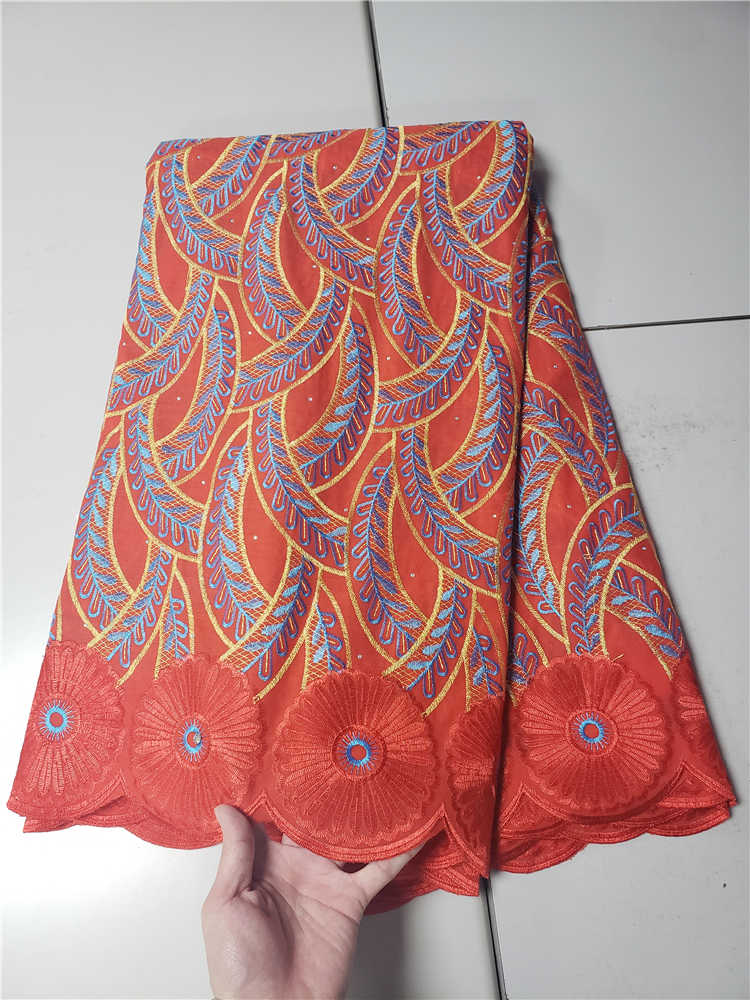 Factory Offers Classic Swisss Voice Fabric High Quality African Dry Cotton Lace Stones Fabric for Party Dress NN591-e