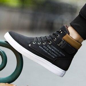 Image 5 - Comfortabele Hoge Top Merk Solid Canvas Mannen Sneaker Schoenen Nieuwe Warme Winter Platform Sneakers Mannen Casual Schoenen Drop Verzending