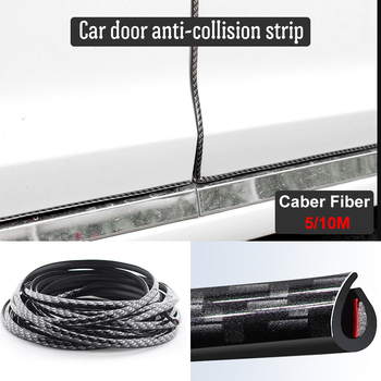 5M/10M Car Door Protector Anti-Collision Strip Carbon Fiber Door Edge Anti-Scratch Sticker chrome Trim Safety Seal Protection 5m car door edge guard scratch strip anti collision rubber sealing trim bumper protection sticker strip car styling strip