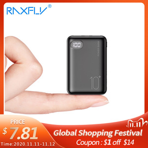 Image 1 - RAXFLY Mini Power Bank 10000mAh Cell Phone Portable Charger LED Powerbank 10000 mAh For Xiaomi External Mobile Battery Poverbank