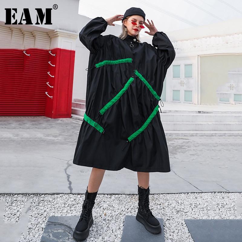 [EAM] Women Black Pleated Big Size Long Trench New Lapel Long Sleeve Loose Fit Windbreaker Fashion Autumn Winter 2019 1B281