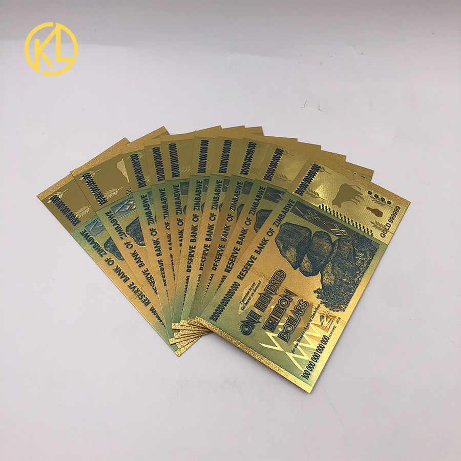 ZIMBABWE AAA Gold Planted 100 TRILLION COLORFUL 24K GOLD
