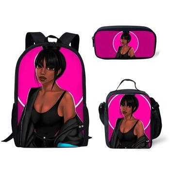 3pcs/set African American Black Girl wit braids School Bag  2