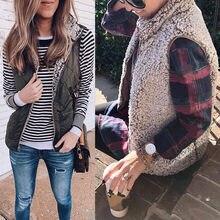 Marke Neue Samt Herbst Mäntel Damen Westen Winter Oberbekleidung 2019 Zipper 2 Gesicht Trägt Tasche Dicke Jacken Frauen Top Weste